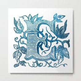 Letter E Antique Floral Letterpress Monogram Metal Print
