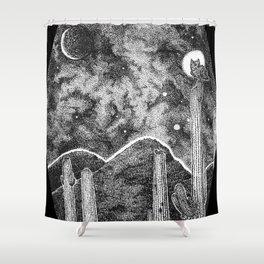 Desert Night Owl Blk Shower Curtain