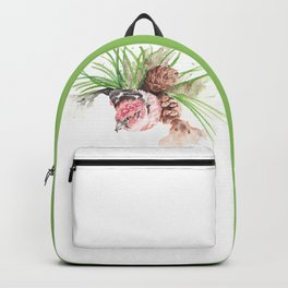 Bird in pine cone tree Backpack