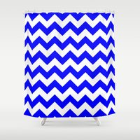 chevron Shower Curtains featuring Chevron (Blue/White) by 10813 Apparel