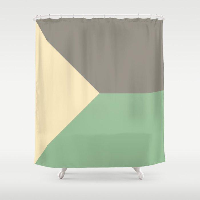 Pastel Green Grey Cream Abstract Geometric Art Shower Curtain