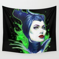 maleficent Wall Tapestries featuring Maleficent by marziiporn