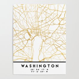 WASHINGTON D.C. DISTRICT OF COLUMBIA CITY STREET MAP ART Poster