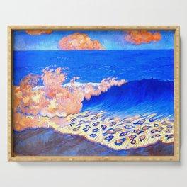 Georges Lacombe - Marine bleue, Effet de vague  - Les Nabis Painting Serving Tray