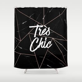 Tres Chic Black Geometric Marble Gold Triangles Shower Curtain