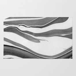 Black and White Ink Marbling 01 Rug