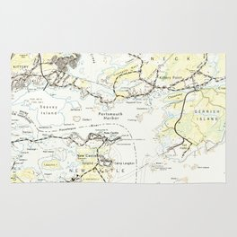 Vintage Map of Kittery Maine (1944) Rug