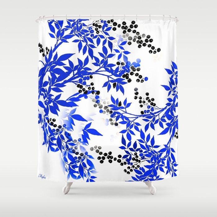 Blue And White Leaf Toile Shower Curtain By Saundramyles