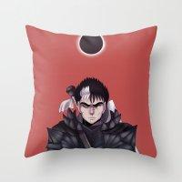 berserk Throw Pillows featuring Guts Berserk by Kurodoj