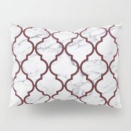 Burgundy gray white marble moroccan quatrefoil Pillow Sham