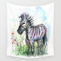 zebra Wall Tapestries featuring Zebra by Olechka