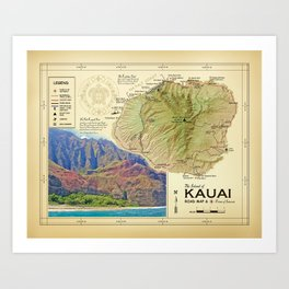 Island of Kauai [vintage inspired] Na Pali Coast road map Art Print