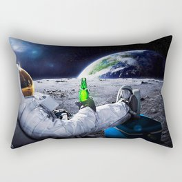 Astronaut on the Moon with beer Rectangular Pillow