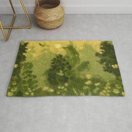 Summer Lawn, Fiber Felt Painting, Wool Texture, Yellow Green Rug