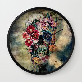 Skull on old grunge II Wall Clock
