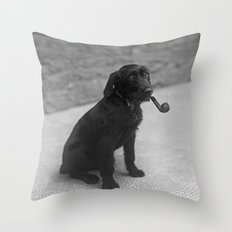 Pipe puffing dog. Throw Pillow