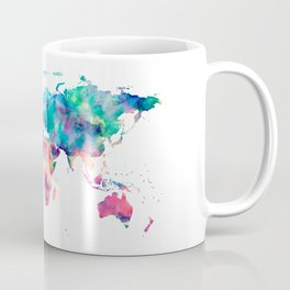 World Map Turquoise Pink Blue Green Coffee Mug