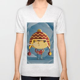 cute kid in the winter with a coy cap Unisex V-Neck