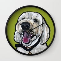 kermit Wall Clocks featuring Kermit the labradoodle by Pawblo Picasso