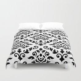Damask Baroque Pattern Black on White Duvet Cover