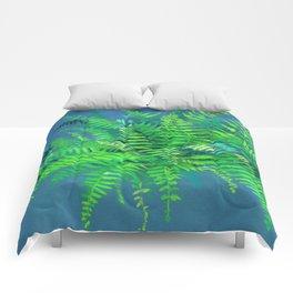 Fern, floral art, forest plants, green & blue Comforters
