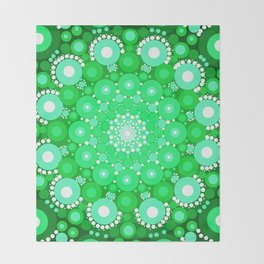 Emerald Mandala Throw Blanket