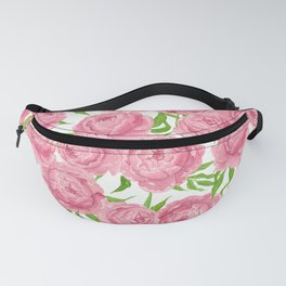 Pink peonies watercolor Fanny Pack
