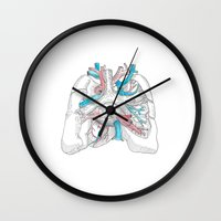 lungs Wall Clocks featuring lungs by Megan