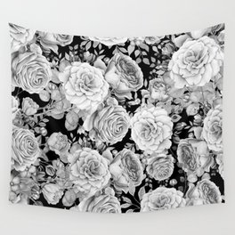 ROSES ON DARK BACKGROUND Wall Tapestry