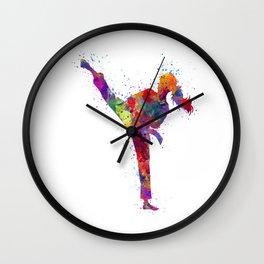Karate Girl Colorful Watercolor Martial Arts Gift Wall Clock