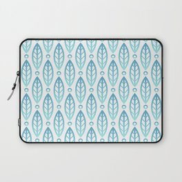 Contemporary Leaf and Circle Pattern Turquoise Blue Ombre Laptop Sleeve