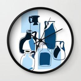Blue vintage glass bottles  Wall Clock