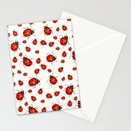 LOVING RED LADY BUGS  ON WHITE COLOR DESIGN ART Stationery Cards