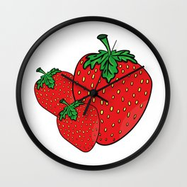 Red strawberry fruit Wall Clock