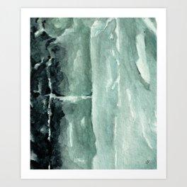 Green Calcite Crystal Watercolor Art Print