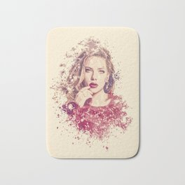 Scarlett Johansson splatter painting Bath Mat
