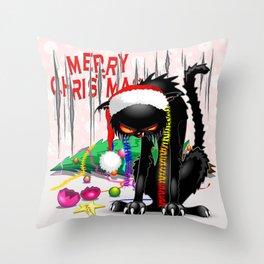 Evil Black Cat VS Christmas Tree Throw Pillow