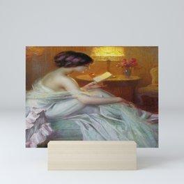 The Letter (Fool in Love) romantic portrait painting by Delphin Enjolras - Bedroom Wall Decor Mini Art Print