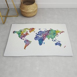 Multicolor World Map 03 Rug