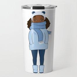 Cozy Cute Girl in Winter Breeze • Monochrome Blue Winter Travel Mug