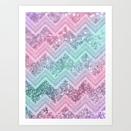 Mermaid Glitter Chevron #2 #shiny #pastel #decor #art #society6 Art Print