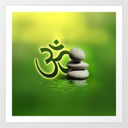 OM symbol  with zen stones on gentle green Art Print