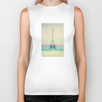 eiffel Biker Tanks featuring The Eiffel Tower by Metron