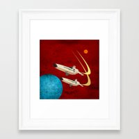battlestar galactica Framed Art Prints featuring Galactica by Tony Vazquez