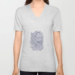 Hannya Mask and Koi Fish Drawing Unisex V-Neck