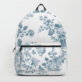 Vintage blue white bohemian elegant floral Backpack