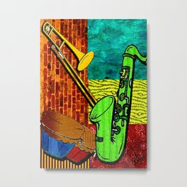 Earthy Music Instrument Collage with saxophone, drums, and trumpet Metal Print