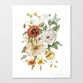Wildflower Bouquet on White Canvas Print
