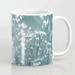 Tiny White Flowers Against Grey-Green Background #decor #society6 #buyart Coffee Mug