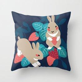 Strawberry Bunny Throw Pillow